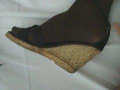 Cum on friend black Sandals (on my foot)