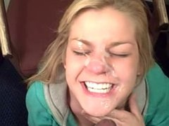 Cute white girl gets BBC facial