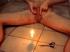 Hot candle wax on own small dick