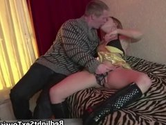 Brunette slut sucks on a cock and gets