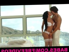 Stunning Latina in lingerie teases her man into bed