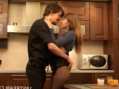 Sexy babe sex in kitchen