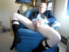 Daddy before work shoots a relaxing load