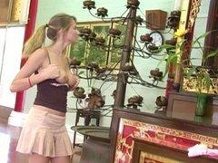 blonde teen masturbating in budhist temple