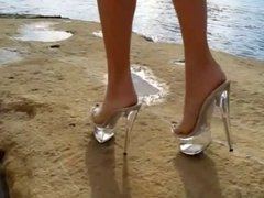 Sexy clear platform heels-- Tacones de cristal sexys