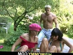 Guy sees his mom and GF toying