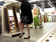 crossdresser ajusting her stockings