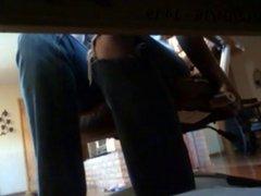 girl masturbating under desk
