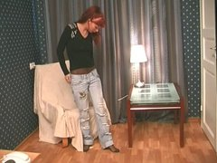 sexy teen takes her jeans off