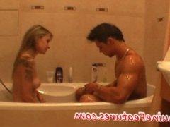 Real czech couple - foot job and bathroom fun
