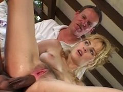 Two black guys hard fuck blonde girl