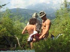 mountain threesome fuck fest