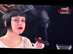 Smoking Fetish - Amazing Brunette Smokes a Thick Cigar