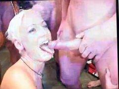 Blonde slut disgusted by huge facial