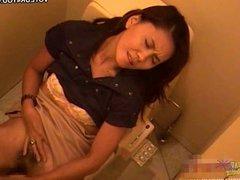 Office restroom girl masturbating