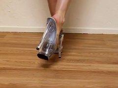 Walking In Clear Platform Stripper Heels