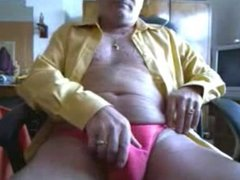 Old horny man using poppers to shoot a big load