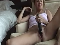 Couple in hotel room masturbate, sex toy and orgasm