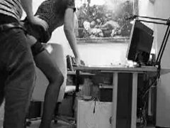 Long legged secretary gets a quickie from behind