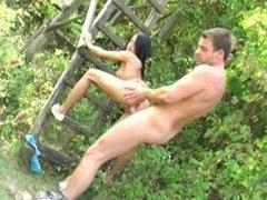 cute amateur couple fucks outside