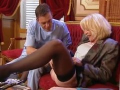 MILF double penetration in stockings. Retro