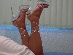 Showing Off Silver Heels On Webcam