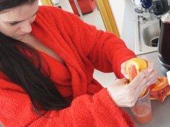 nude teen drinking grapefruit juice