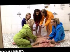 CFNM girls undress and humiliate some dude peeping on