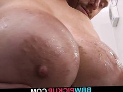 He picks up busty chick and fucks in the restroom