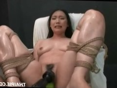 Hairy Asian Made To Cum With Power Tools