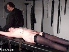 Tattooed amateur slaves torture rack bondage