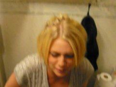 My friends in toilet, Jennie show her tits