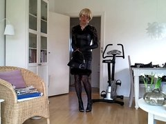 Sissy sexy black leather dress 2
