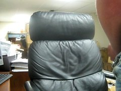 Big cumshot on leather chair