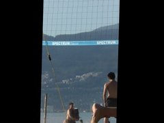 Candid Super Hot Chicks playing Beach Volleyball