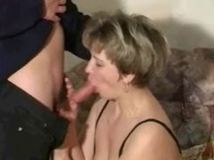 Mature fucked by two young