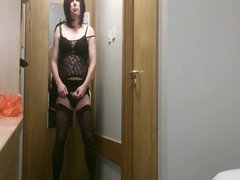 Horny Shemale Emma Lee Wanks Her Cock in Hotel
