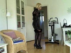 Sissy sexy black leather dress 1