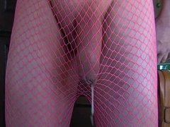 Cum Shot in Pink Fishnet Thights