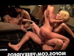 Three blonde college girls share two guys for a group fuck