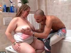 Fat bitch fucked in the bathroom