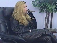 Leather Clad Bitch Smoking Cigar
