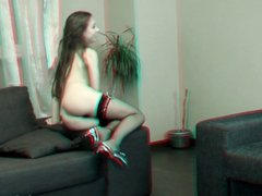 Naughty teen exposed on a sofa - 3D photosession's backstage