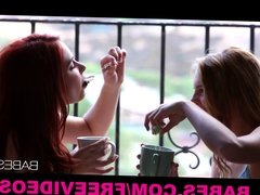 Gorgeous redhead bombshell goes down on her HOT blonde GF
