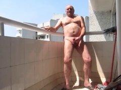 Balcony Wank in Public
