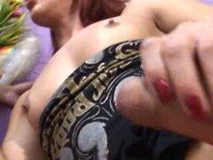 Tranny slurping thick cock