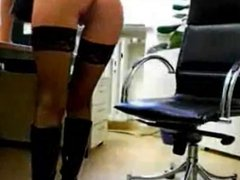 Hot blonde secretary in boots fucked