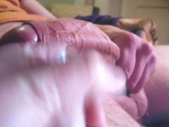 Cumming on a big thick cock