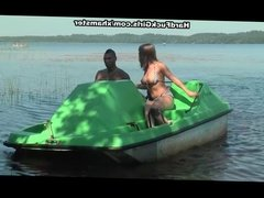Titted blonde fucked hard in a boat