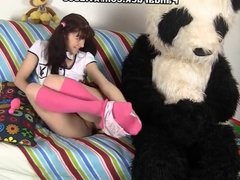 young brunette masturbates pink toy